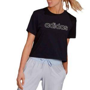 NEW Adidas Short Sleeve Black Crop Logo T-Shirt